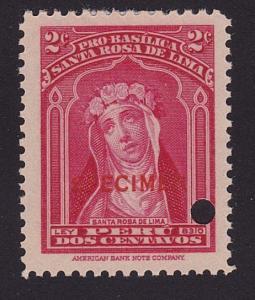 PERU 1937 SANTA ROSA DE LIMA Sc mint optd SPECIMEN + security punch hole....7951