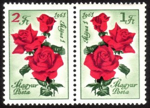 1961, Hungary 1Ft+2Ft pair, MNH, Sc 1383-84