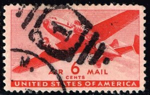 US STAMP AIR MAIL #C25 – 1941 6c Rotary Press USED XFS SUPERB