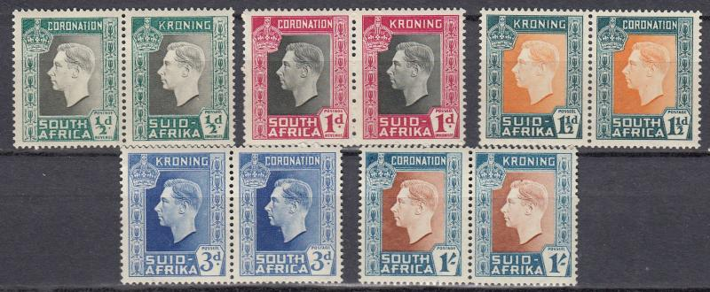 South Africa - 1937 KGVI Coronation Sc# 74/78 - MH (947)