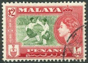 PENANG-1957 $2 Bronze-Green & Scarlet Sg 53 FINE USED V42833