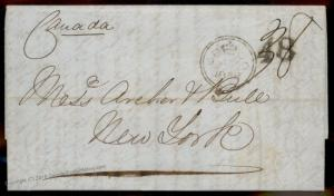 England Britain 1858 New York USA Cunard Canada Transatlantic Stampless Co 77674