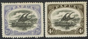 PAPUA 1910 LAKATOI LARGE PAPUA 21/2D AND 4D WMK UPRIGHT PERF 12.5