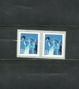 3466 Statue Of Liberty Pair Mint/nh FREE SHIPPING