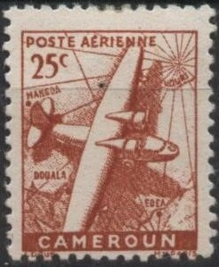 Cameroun C15 (mh) 25c plane & map, brn red (1946)