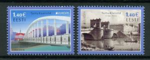 Estonia 2018 MNH Bridges Europa Tartu Bridge 2v Set Architecture Stamps