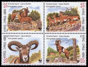 Cyprus WWF Mouflon 4v in block 2*2 SG#941-944 MI#914-917 SC#920-923