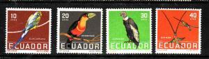 Ecuador-Sc#634-7-Unused NH set-Birds-1958-