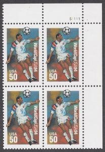 2836 Plate block 50cts World Cup 1994 Soccer Championships
