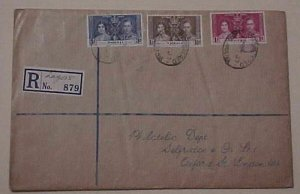 NIGERIA KING GEORGE VI CORONATION 1937 MAY 12  LAGOS REGISTERED  FDC