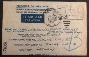 1944 Philadelphia Usa To Germany POW Camp Cover Luft Stalag 3 Prisoner Perlman
