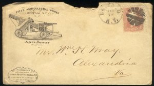 US #65 EST $125.00 EARLY ADVERTISING COVER, F/VF stamp, Pitts,  BOLD FANCY CA...