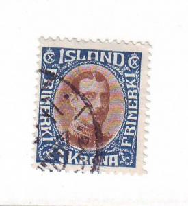 Iceland Sc 185 1931 1 kr Christian X stamp used