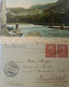J) 1903 PERU, FRANQUEO, BRIDGE OF THE PERUVIAN CHANCHAYO, POSTAL STATIONARY, MUL