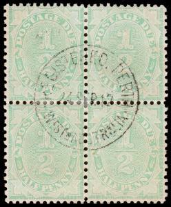 Australia Scott J23, perf. 11.5x11, Blk. of 4 (1906) Used F-VF, CV $72.00+ M
