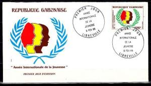 Gabon, Scott cat. 576. International Youth Year issue. First day cover.