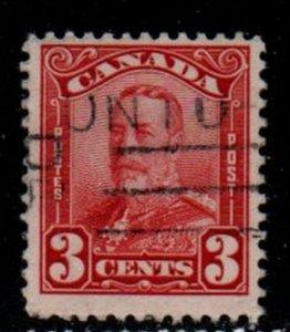 Canada Sc 151 1928 3 c dark carmine George V  scroll issue stamp  used