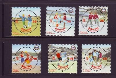 Alderney Sc 227-32 2004 Football FIFA 100yrs stamps NH