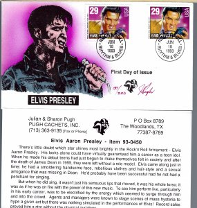 Pugh Designed/Painted Elvis Presley Dual FDC...200 awesome covers Created!