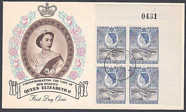 KENYA UGANDA TANGANYIKA 1954 Royal Visit block of 4 on FDC - Mbeya cds.....53802
