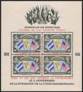 Honduras C153-C154,MNH-yellowish gum.Mi Bl.2A-2B. Allied Nations' Victory,1945.