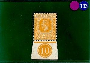 GOLD COAST SG.90 1922 2½d yellow KGV PLATE *10* marginal fine mint LMM PBLUE133