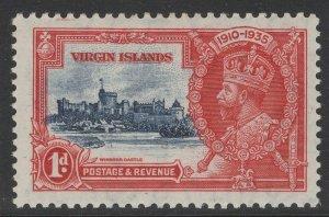 VIRGIN ISLANDS SG103k 1935 1d SILVER JUBILEE KITE & VERT LOG VARIETY MTD MINT