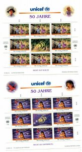 United Nations Vienna  Scott #211-212 50th Anniversary of UNICEF Panes of 8 MNH