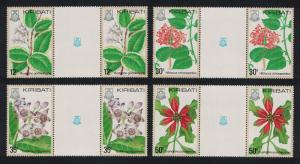 Kiribati Flowers 4v Gutter Pair SG#141-144 SC#365-368