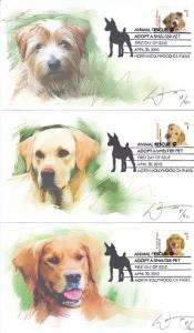 Animal Rescue Dogs 5 Diff. FDC 2010
