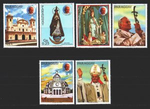 Paraguay. 1983. 3621-26 from the series. Churches, Madonna, Pope. MNH.