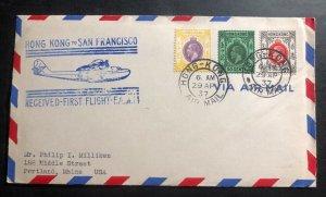 1937 Hong Kong First Flight Airmail Cover FFC To Portland Me USA FAM 14