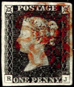 Great Britain Penny Black RJ Four Margins
