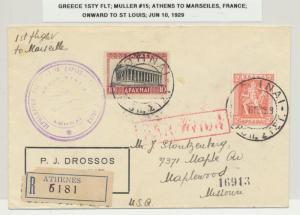 GREECE 1929 1st FLIGHT ATHENS TO MARSEILLES ONWARD TO ST LOUIS USA, Mu#15