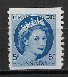 1954 Canada 348  5¢ coil Queen Elizabeth MNH