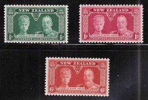 New Zealand Scott 199-201 MH* Silver Jubilee set 1935