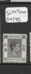 HONG KONG    (P2806B)  KGVI 20C  SG 147       MNH