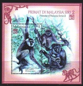 Malaysia. 2016. bl 208. Monkeys, fauna. MNH.