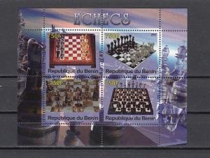 Benin, 2007 Cinderella issue. Sheet of 4 Chess sets.