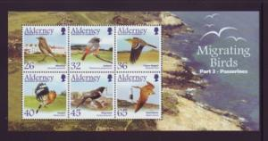Alderney Sc 238a 2004 birds Passerines stamp sheet NH