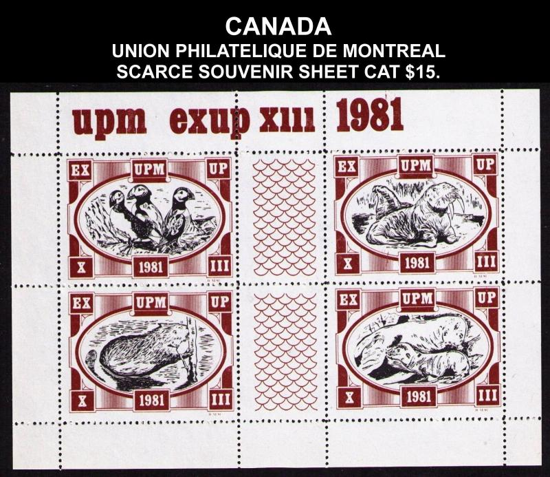 CANADA UNION PHILATELIQUE MONTREAL EXUP 1981 SOUVENIR SHEET #cc1325.2 CV $15