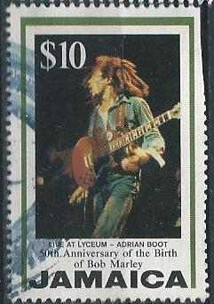 Jamaica 840 (used, clipped upper right) $10 Bob Marley