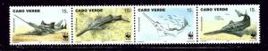 Cape Verde 716 MNH 1997 W.W.F. strip of 4 been folded