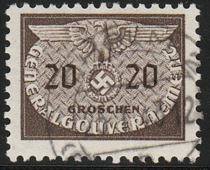 Stamp Germany Poland General Gov't Official Mi 20 Sc NO20 WW2 Occupation Used