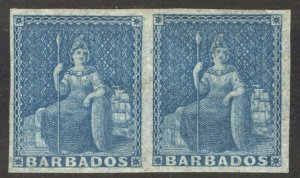 Barbados 1852 1d Blue Imperf Pair SG 3 Scott 2a LMM/MLH Cat £120($157)