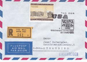 Austria 1981 WIPA USA Day Registered Cover VGC