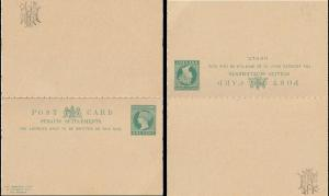 Malaya Straits Settlements Pre-Stamped Post Card 1c QV with Reply Card Mint