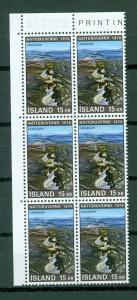 Iceland. 1970  Nature, 15 Kr,Mnh. Plate # 058820. Block of 6. Scott# 426.