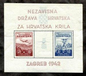 x027 - CROATIA 1942 WW2 NDR Souvenir Sheet. Perforated MNH. Za Hrvatska Krila