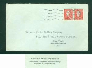 Denmark. USA Commercial Cover. 1945. Stamp King Pair 20 Ore.Address. Wall Street